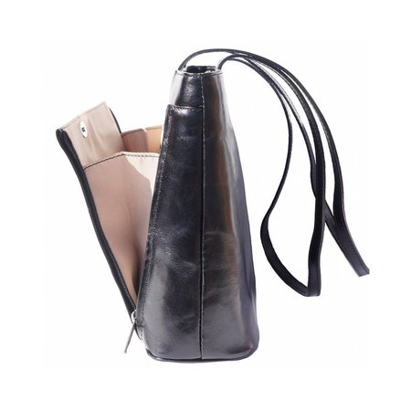 Handtas of schoudertas met dubbele schouderriem zwarte kleur