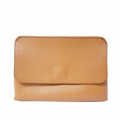 Elegante leren tas met afneembare riem naturel leder kleur