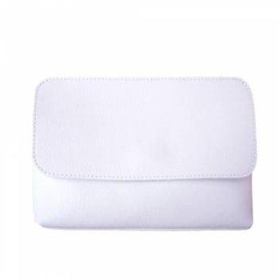 Elegante leren handtas met afneembare riem witte kleur