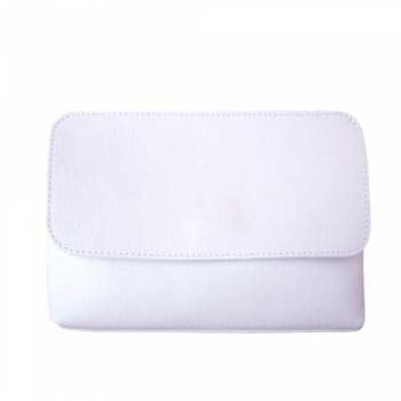 Elegante leren schoudertas met afneembare riem in witte kleur