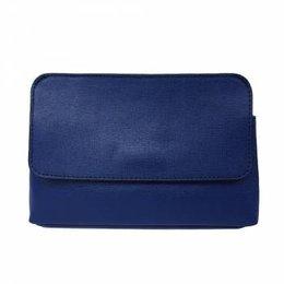 Elegante leren handtas met afneembare riem donker blauw kleur