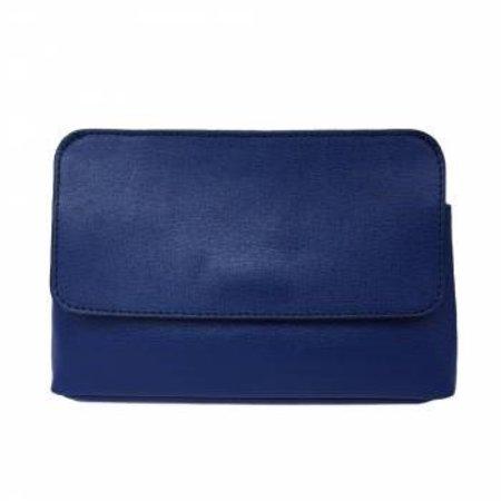 Elegante leren schoudertas met afneembare riem in donker blauwe kleur