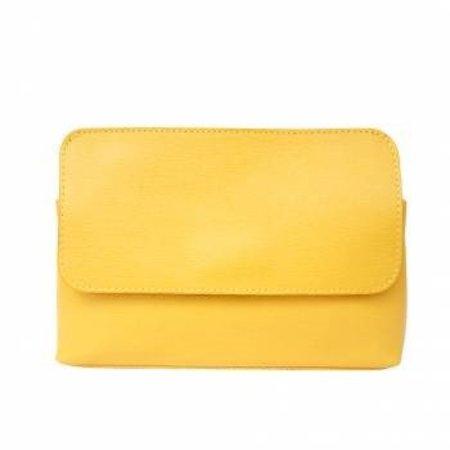 Elegante leren schoudertas met afneembare riem in geel kleur