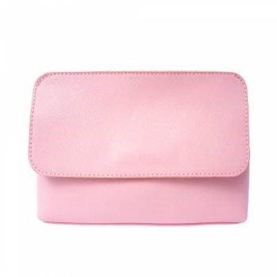 Elegante leren handtas met afneembare riem roze kleur