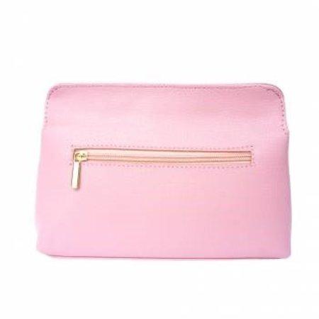 Elegante leren schoudertas met afneembare riem in roze kleur