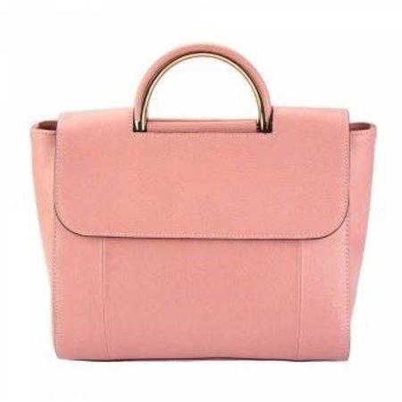 Leren Handtas zalm roze kleur tijdloze model