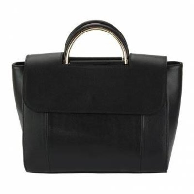 Leren Handtas in zwarte kleur  met riem