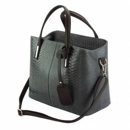 Kalfsleer crocoprint met zwarte handvatten en grijze kleur handtas
