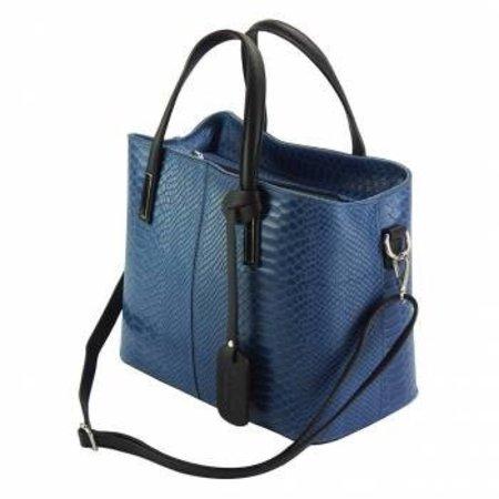 Kalfsleer crocoprint met zwarte handvatten donker blauwe kleur handtas