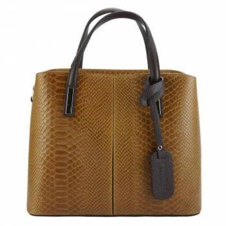 Kalfsleer crocoprint met zwarte handvatten cognac kleur handtas