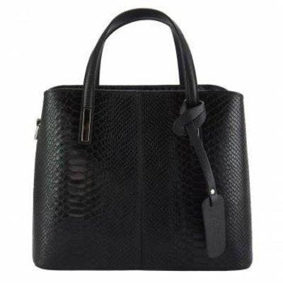 Kalfsleer handtas crocoprint met zwarte handvatten zwart kleur