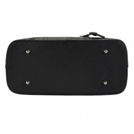 Kalfsleer crocoprint met zwarte handvatten zwarte kleur handtas