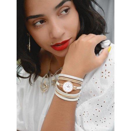 Kwarts horloge lichtbruin met armbanden