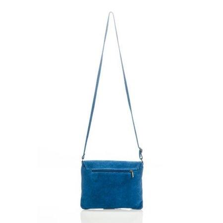Schoudertas cross-body  blauwe kleur suède leer met gekleurde  knopen