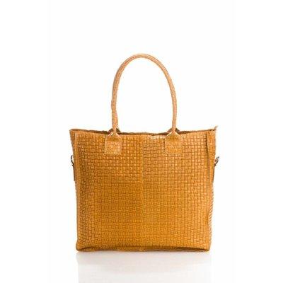 Damestas model Shopper met bedrukte Suède leer cognac kleur