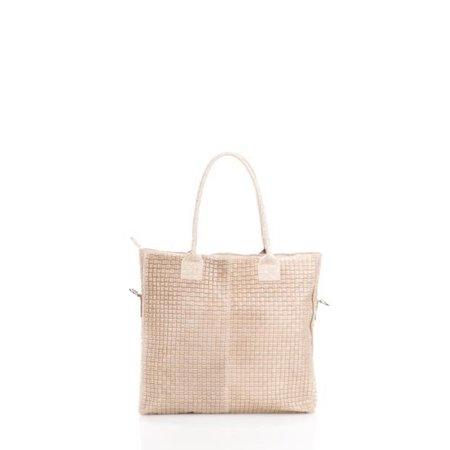 Damestas model Shopper met bedrukte Suède leer in beige leder kleur