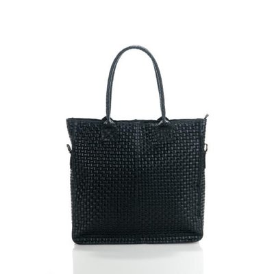 Damestas model Shopper met bedrukte Suède leer zwart kleur