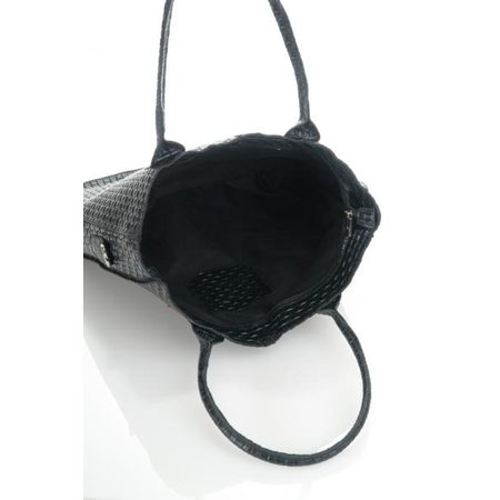Damestas model Shopper met bedrukte Suède leer in zwarte leder kleur