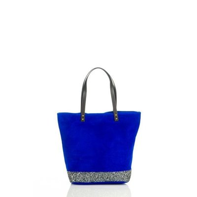 Suède leer damestas electric blue kleur