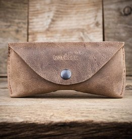 """Sichtschutz"" leather glasses case, brown eyeglasses case"