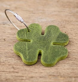 leather key chain four-leafed clover, green, steel rope with screw cap, lucky clover