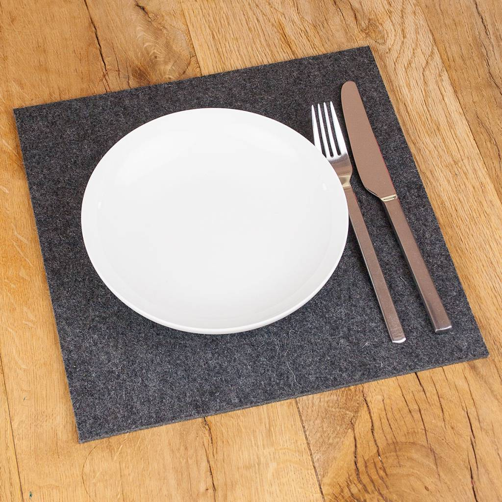 filz tischset platzset quadrat dunkel grau 30 cm 32 5 cm 35 cm 37 5 cm 40 cm filzwerk. Black Bedroom Furniture Sets. Home Design Ideas