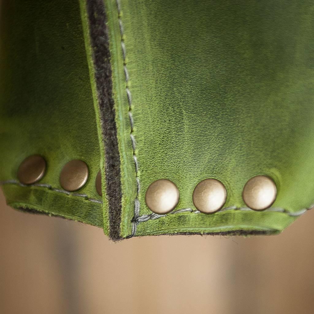 werktat Umhängetasche aus grünem Leder und Filz, Charakterstück WT0814, Filz Messenger Bag
