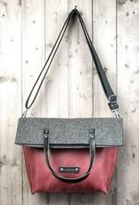 werktat Umhängetasche aus rotem Leder und Filz, Charakterstück WT0814, Filz Messenger Bag