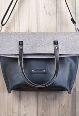 werktat Umhängetasche aus blauem Leder und Filz, Charakterstück WT0814, Filz Messenger Bag
