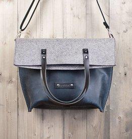 Charakterstück – blaues Leder & Filz Umhängetasche Messenger bag