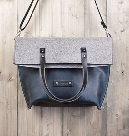 werktat Charakterstück – blue leather & felt, crossbody bag messenger bag