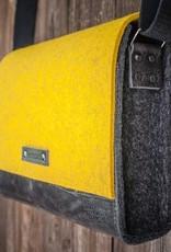 werktat Messenger Bag, Filz, Leder schwarz, Umhängetasche, Filztasche, Ledertasche, Werksbote Max