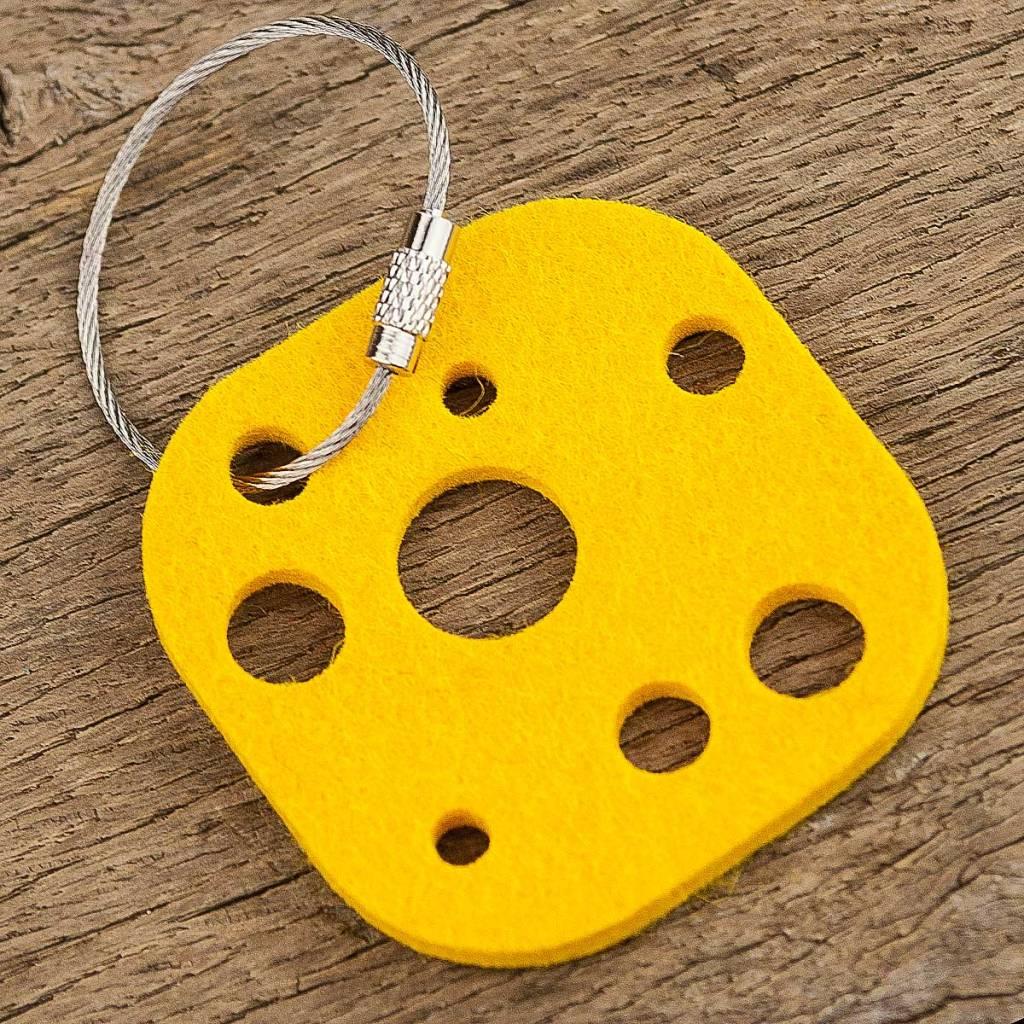 werktat Filz Schlüsselanhänger Käse, gelb mit Stahlseil