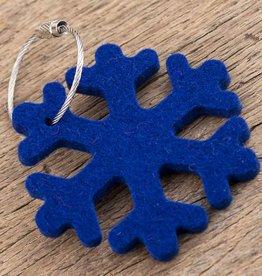 felt key chain snowflake, dark blue
