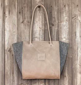 "werktat Resultat in leather ""stone"", shoulder bag, handbag, leather bag, felt bag"