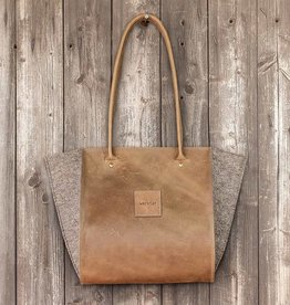 "werktat Resultat in leather ""hazel"", shoulder bag, handbag, leather bag, felt bag"