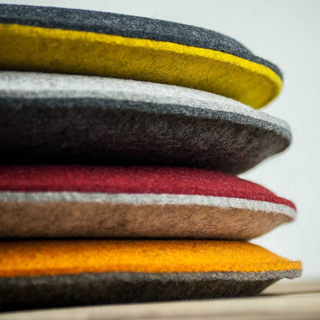 werktat felt seat cushions padded, round, chair cushions, bench cousions stuffed, upholstered 30cm 32,5cm 35cm 37,5cm 40cm