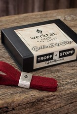 werktat bottle drip stop, wine collar, drop stop: Metal ring with felt loop in red