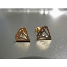 Stud Earrings #Diamond - Rose Gold
