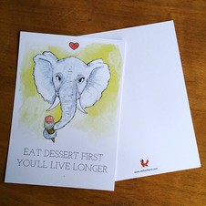 "By STEL.EL STEL.EL - Postcard ""Eat dessert first you'll live longer"""