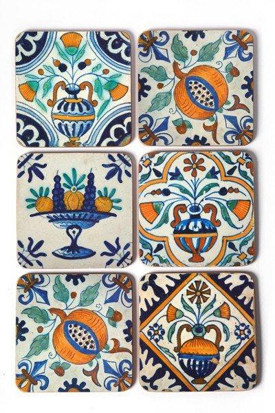 Onderzetters Delft polychroom tegels