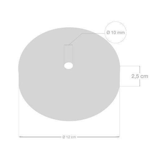 Plafondkap zwart staal - 1 snoer
