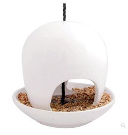 Vogelvoederhuis wit keramiek