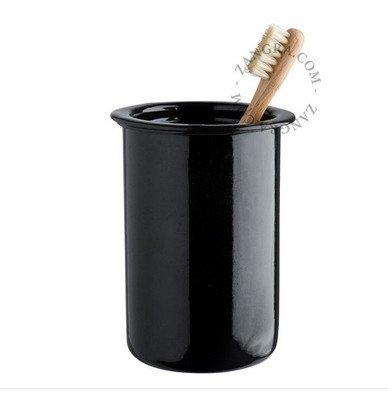 393 Emaille tandenborstel houder - zwart