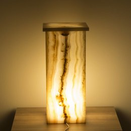 Square Lamp Onyx Height 50 cm