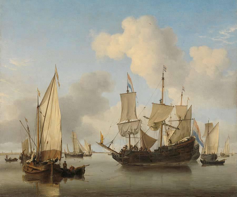 Rijksmuseum Schepen onder de kust voor anker, Willem van de Velde (II), ca. 1660