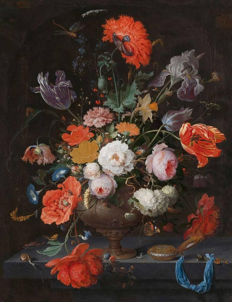 Rijksmuseum Stilleven met bloemen en een horloge, Abraham Mignon, ca. 1660 - ca. 1679