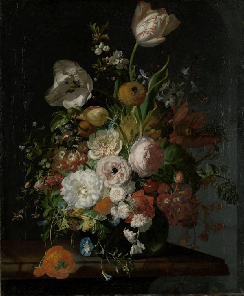 Rijksmuseum Stilleven met bloemen in een glazen vaas, Rachel Ruysch, ca. 1690 - ca. 1720
