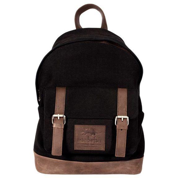 627f3e0b6d62b Corvara Backpack Black Canvas Eco Leather Fair Trade Manbefair Com