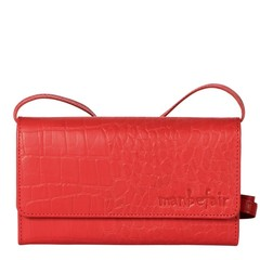 CLUTCH LILY leder retro rot croco
